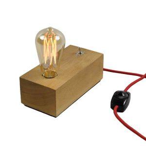 چراغ رومیزی دکوراتیو بالب لندن مدل WOODEN DESK LAMP SWITCH